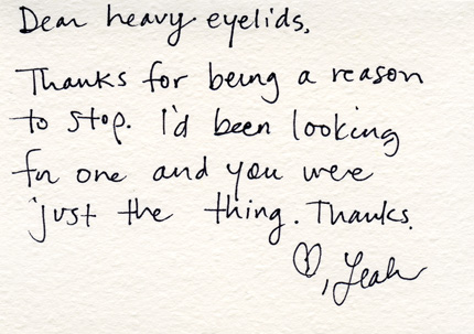 Dear heavy eyelids