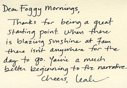 Dear Foggy Mornings