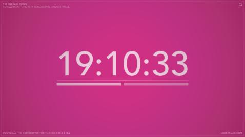 The colour clock: 19:10:33