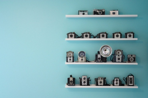 Things organized neatly: cameras