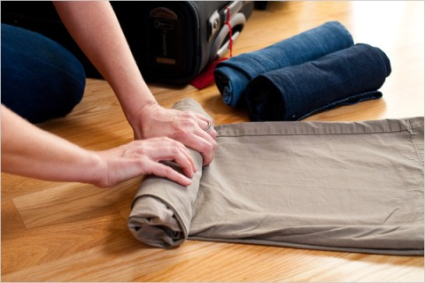 roll-up clothes, don't fold them