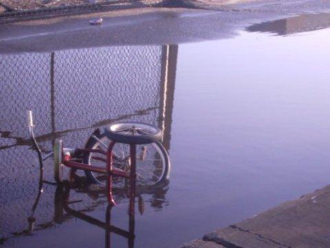 Sad stuff on the street bicycle